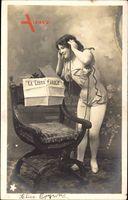 La Libre Parole, Stuhl, junge Frau mit Telefon, H. Manuel, Zeitung