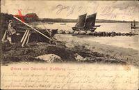 Haffkrug an der Ostsee, Partie am Meer, Segelboot