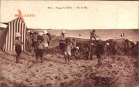Plage du Bois, Ile de Re, Kinder in Badekleidung am Strand, Strandzelt