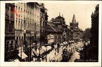 Praha Prag, Na Prikopech, Straßenpartie, Straßenbahn