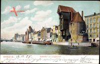 Gdańsk Danzig, Krantor mit Langebrücke, Mottlaupartie