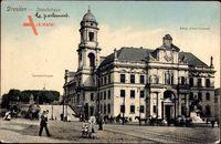 Dresden Zentrum Altstadt, Ständehaus, Terrassentreppe, König Albert Denkmal