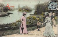 Paris, Bois de Boulogne, Le Lac, Wald, See, Passanten
