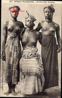Afrique Occidentale, Jeunes Filles Soussous, Afrikanerinnen, Barbusig
