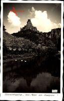 Elbsandsteingebirge, Gans Felsen vom Amselgrund, Hahn 2