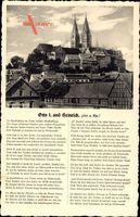 Gedicht Quedlinburg im Harz, Otto I. und Heinrich, 941 n. Chr. Fachwerkhäuser