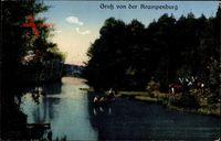 Berlin Köpenick, Hirsche am Wasser, Personen im Boot, Krampenburg