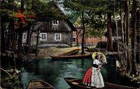 Im Spreewald, Frau in Tracht fährt Gondel, Chromphoto