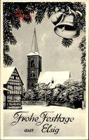 Elsig Euskirchen in Nordrhein Westfalen, Glückwunsch Weihnachten, Kirche