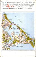 Landkarten Usedom an der Ostsee, Spezial Wanderkarte mit Ostseebädern