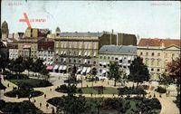 Berlin, Parkanlage auf dem Dönhofplatz, Geschäfte, Denkmal