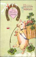 Glückwunsch Neujahr, Schwein, Kleeblätter, Hufeisen, Pilze