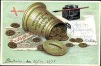 Glückwunsch Neujahr, Geldschein, Münzen, Tintenfass