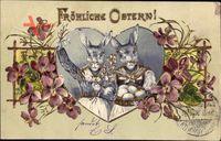 Glückwunsch Ostern Osterhasen, Ostereier, Weidenkätzchen