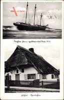 Dierhagen Fischland, Fischerhäuschen, Segler gestrandet 1931