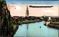 Potsdam in Brandenburg, Havelarm, Heiligegeistbrücke, Zeppelin
