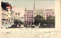 Berlin Mitte, Blick auf den Spittelmarkt, Kutschen, Straßenbahn, Kirchturm