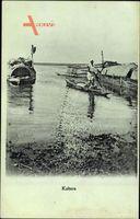 Kabara Fidschi Inseln, Fischerboote am Ufer, Gondeln