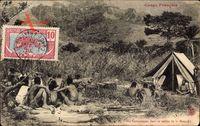 Französisch Kongo, Un campement dans la vallée de la moundji