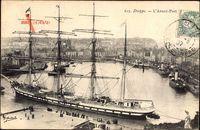 Dieppe Seine Maritime, LAvant Port, Viermastbark im Hafen, Segelschiff