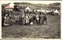 Marechal Lyautey besucht das Militärlager, Zelte, Soldaten