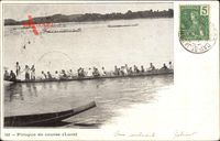 Laos Südostasien, Pirogue de course, Boote auf dem Wasser