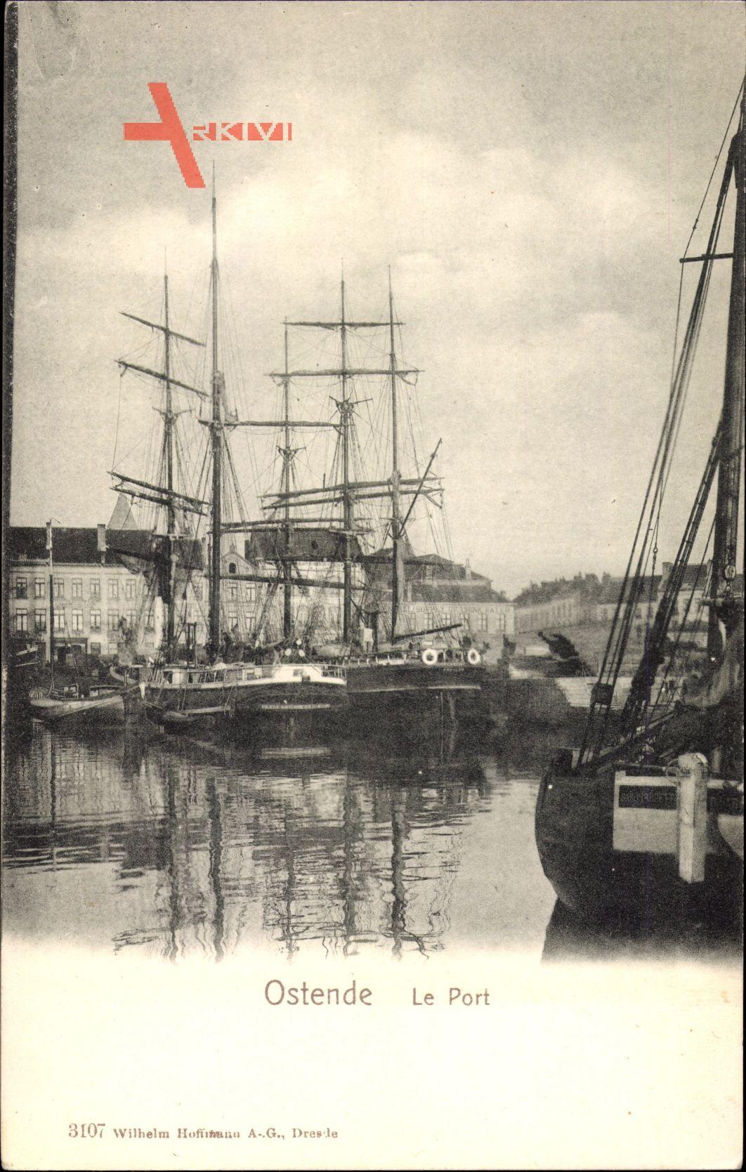 Ostende Westflandern, Le Port, Segelschiffe im Hafen