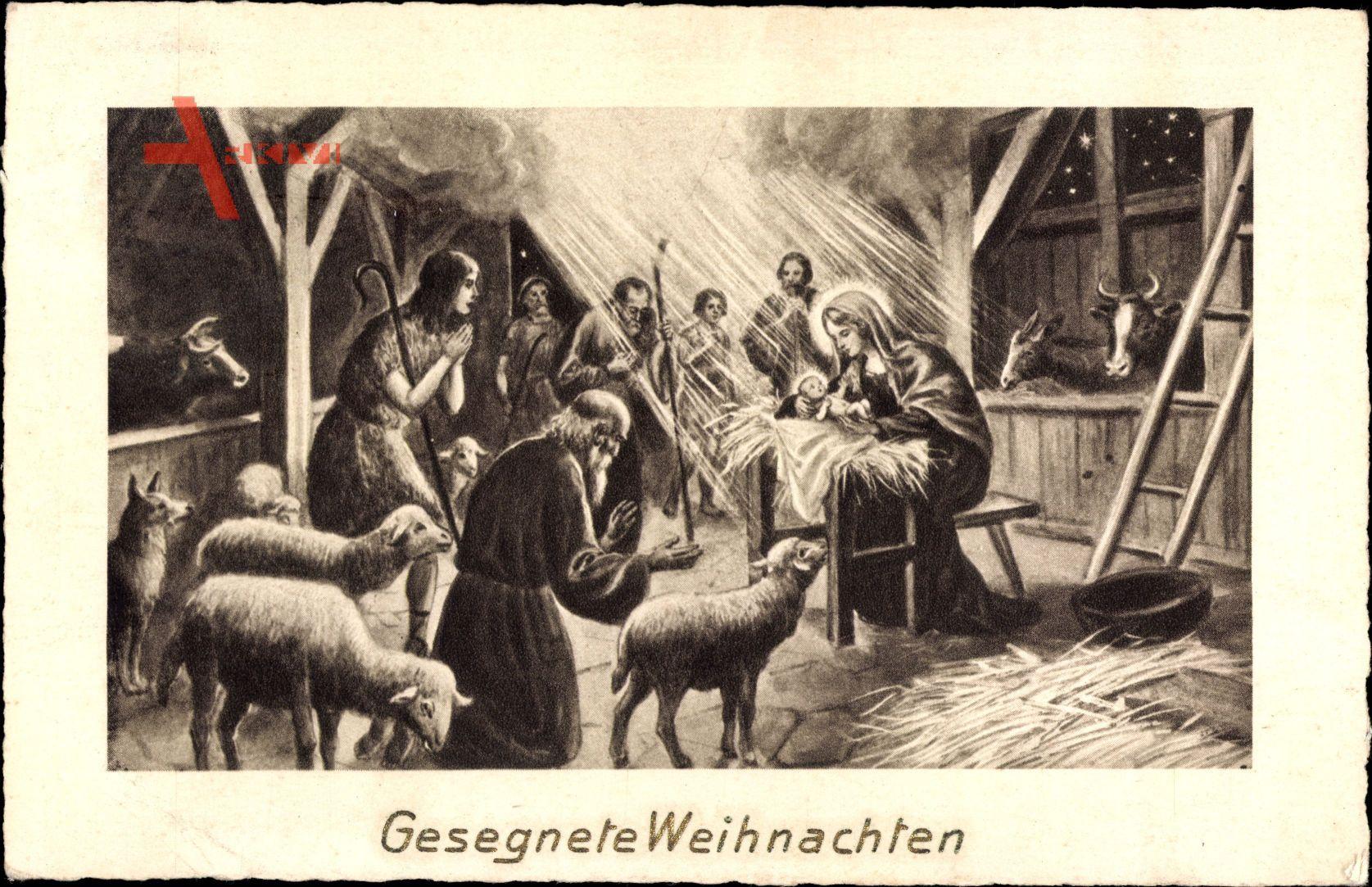 Frohe Weihnachten, Bibelszene, Jesuskind, Krippe, Schafe | xl