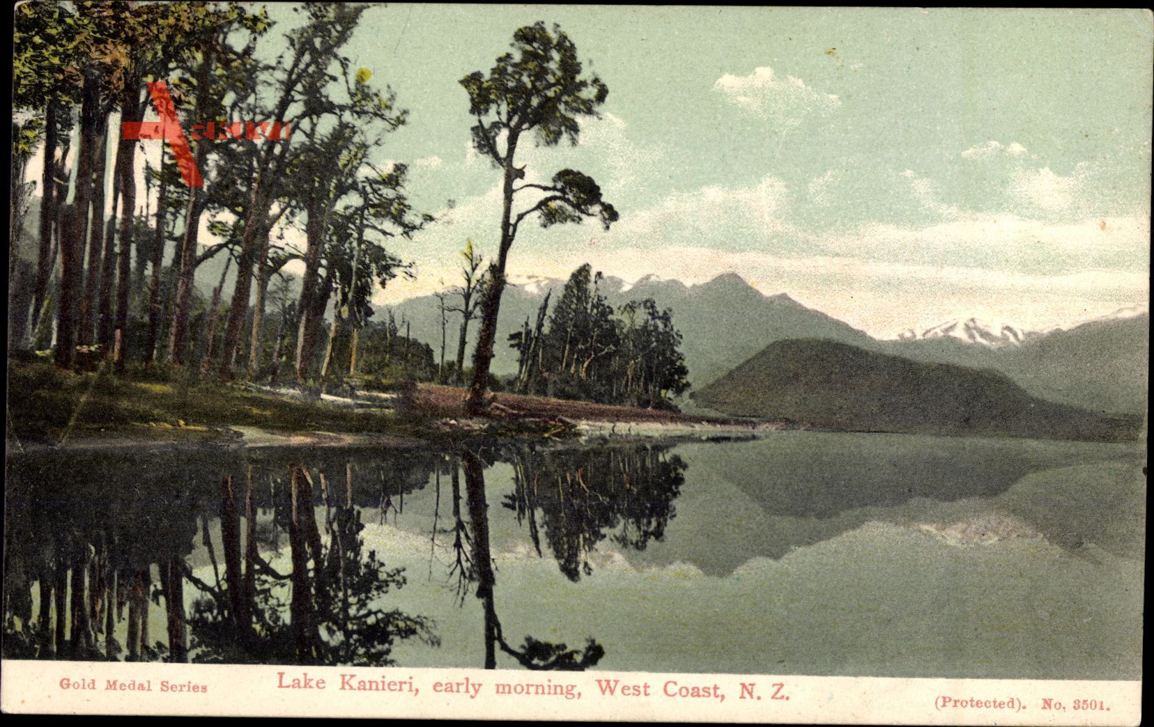 West Coast Neuseeland, Lake Kanieri, early morning, Berge, See, Wald