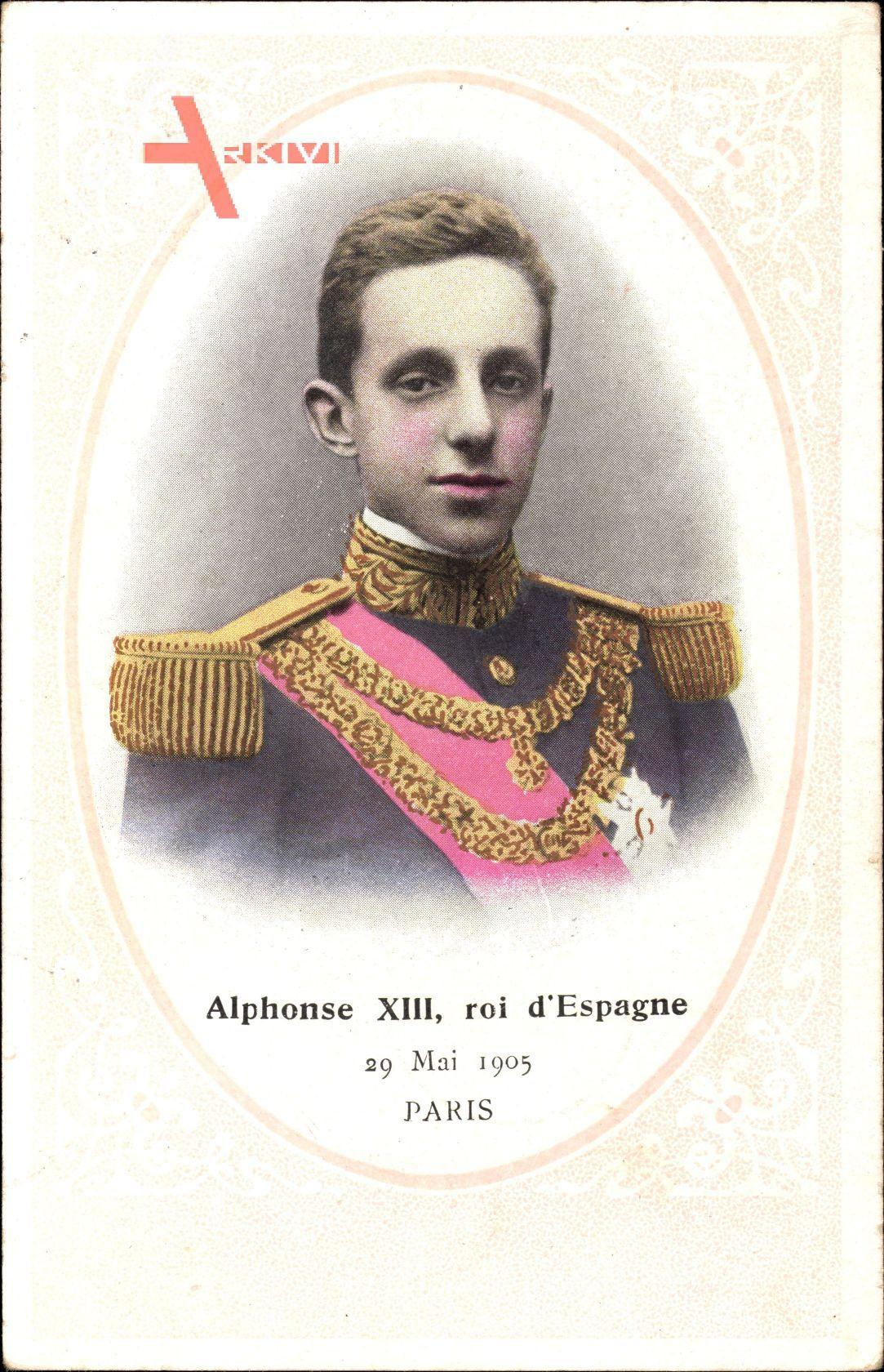 Passepartout König Alfons XIII. von Spanien, Portrait, 29 Mai 1905 à Paris