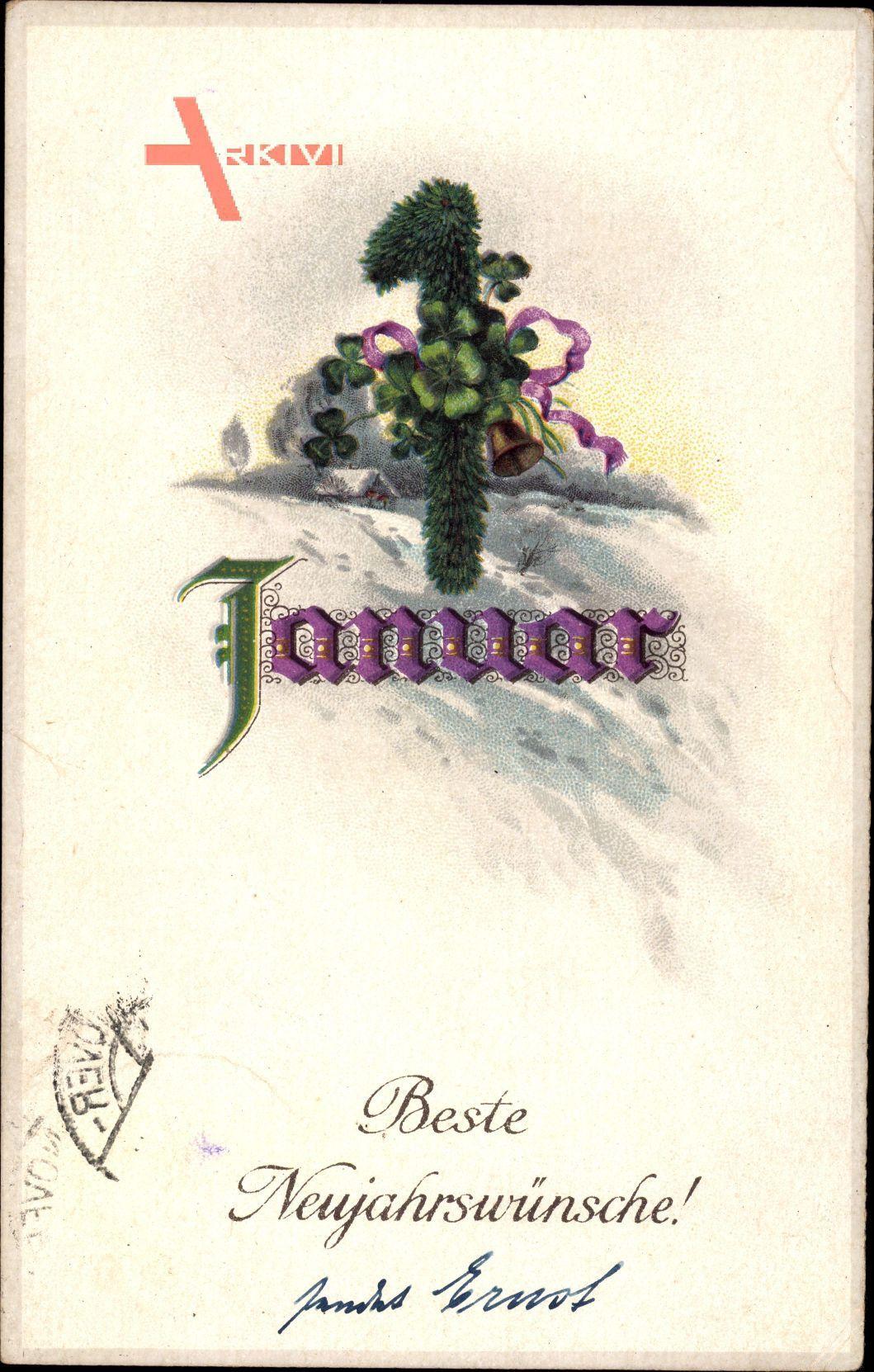 Glückwunsch Neujahr, 1. Januar, Kleeblätter, Tannenzweig