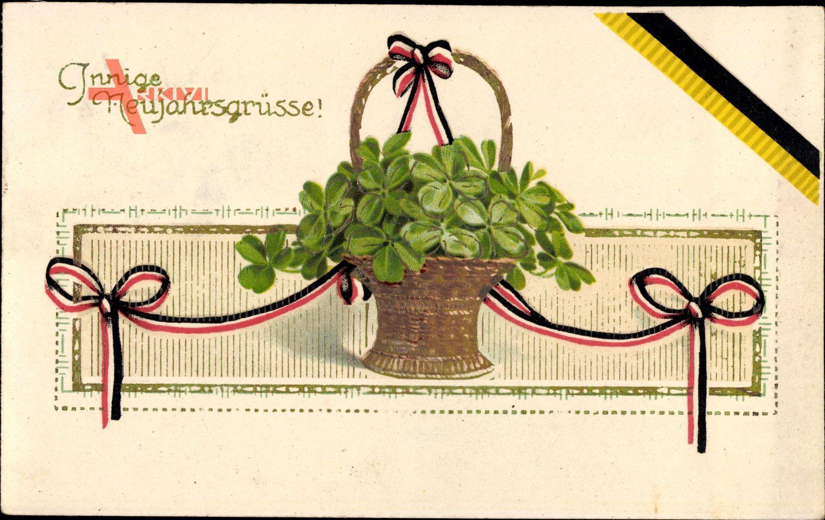 Glückwunsch Neujahr, Kleeblatt, Blumenkorb, BNK 7473