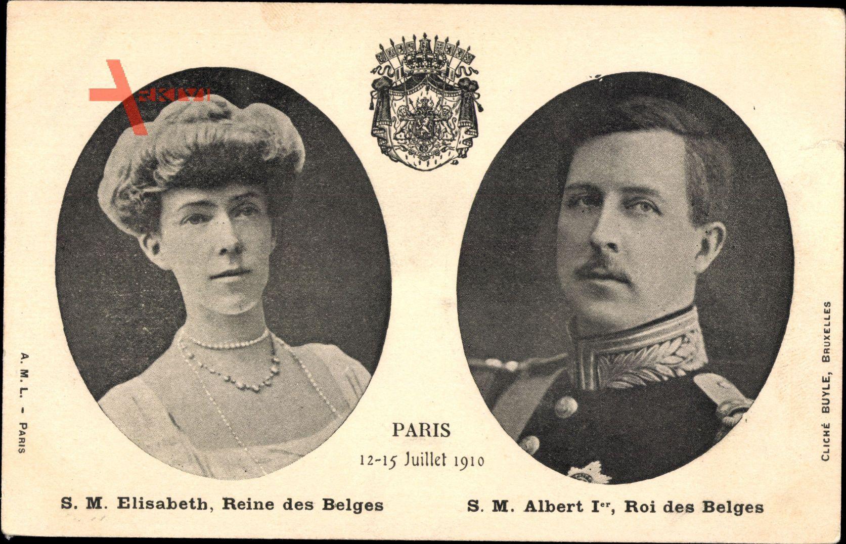 König Albert I. von Belgien, Königin Elisabeth von Belgien, Paris 1910