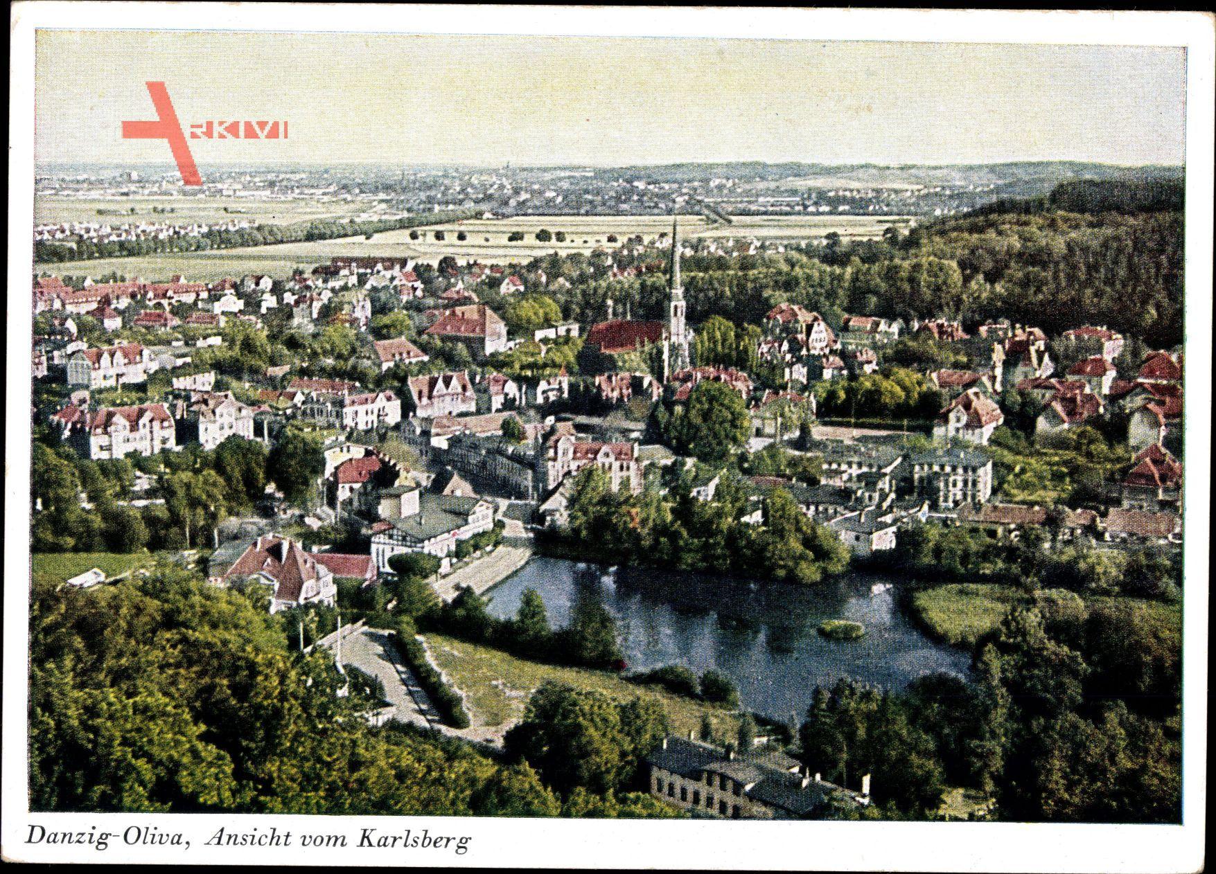 Oliva Gdańsk Danzig, Ansicht vom Karlsberg auf die Stadt