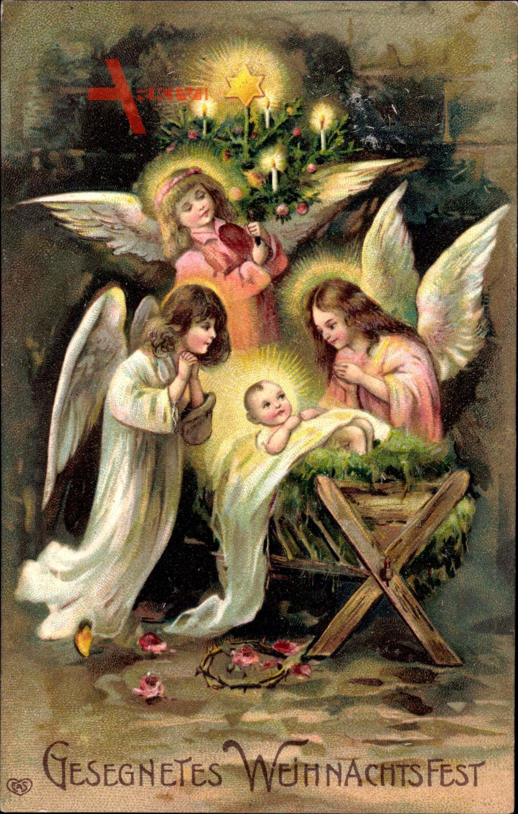 Frohe Weihnachten, Engel, Jesuskrippe, Tannenbaum
