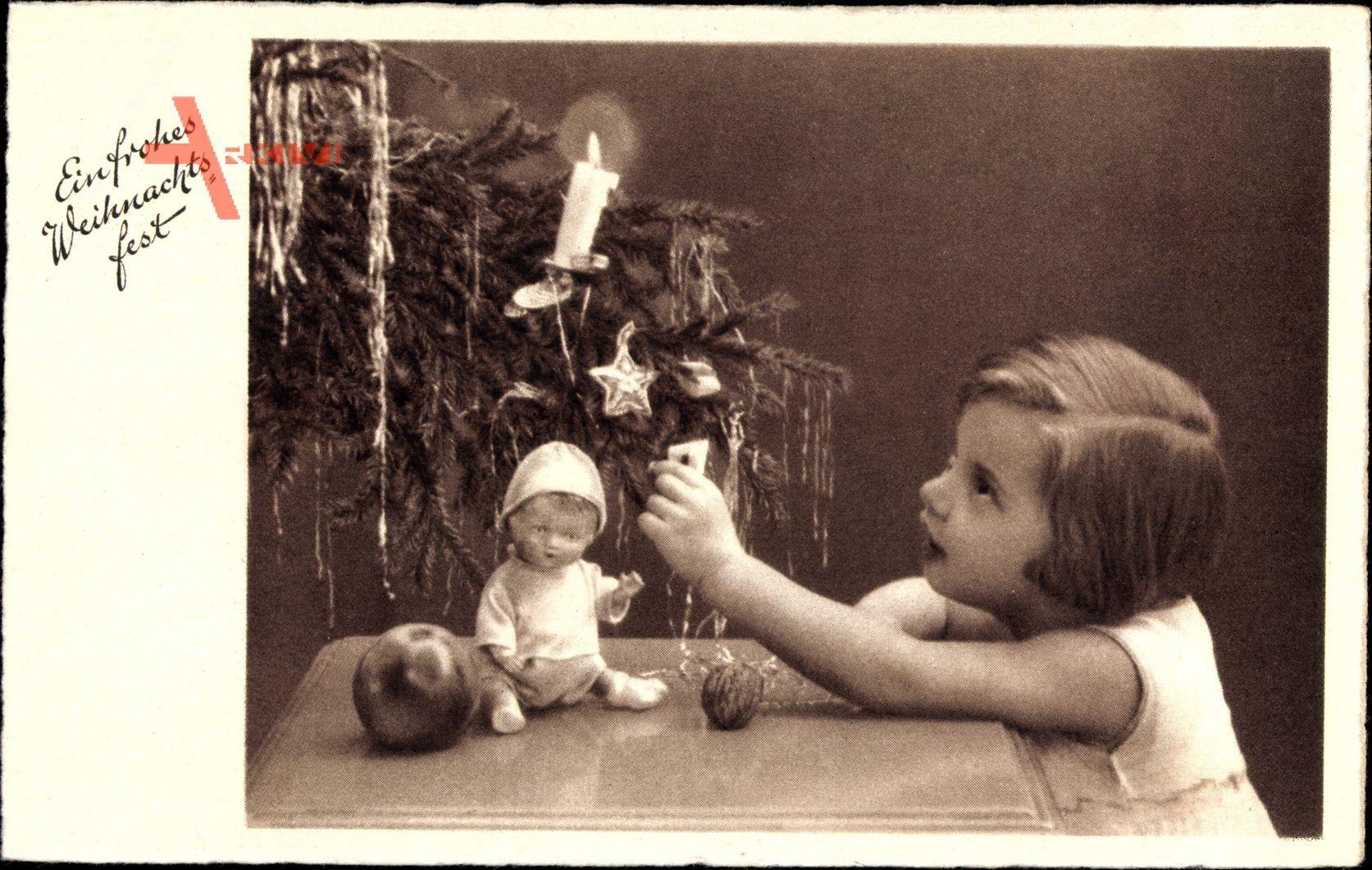 Frohe Weihnachten, Mädchen, Puppe, Tannenzweig, Kerze