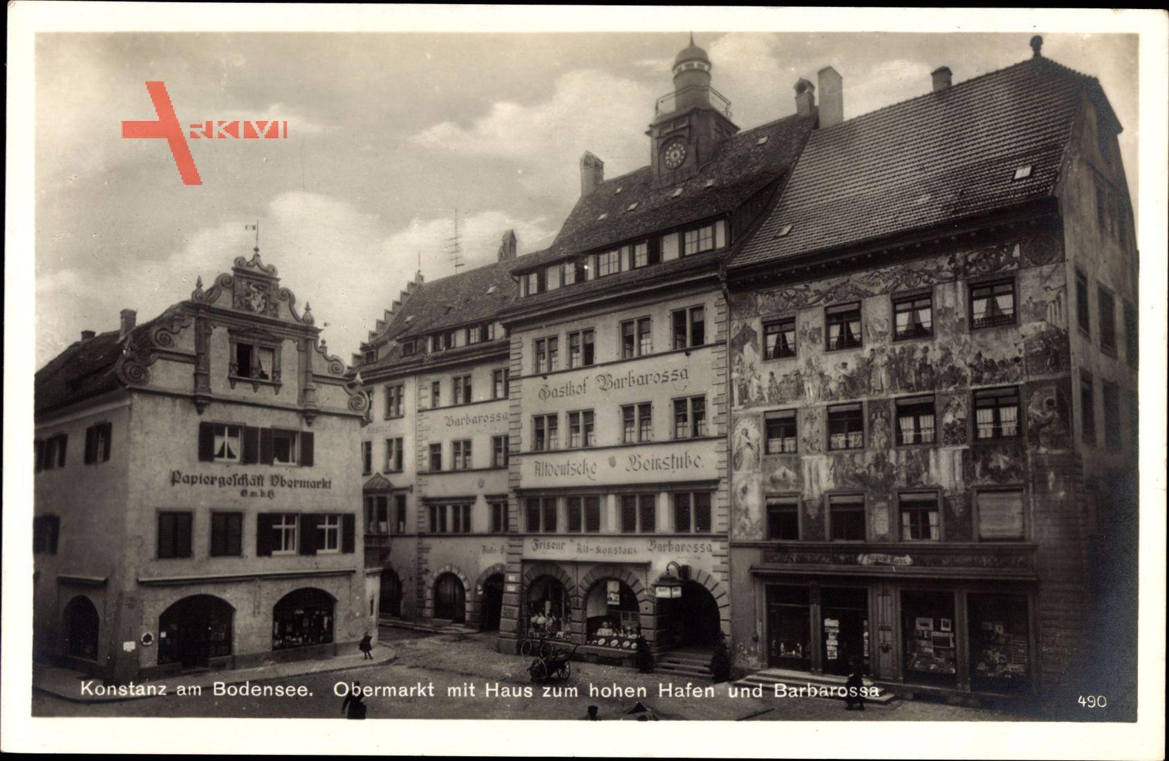 Konstanz am Bodensee, Obermarkt mit Haus zum hohen Hafen und Barbarossa