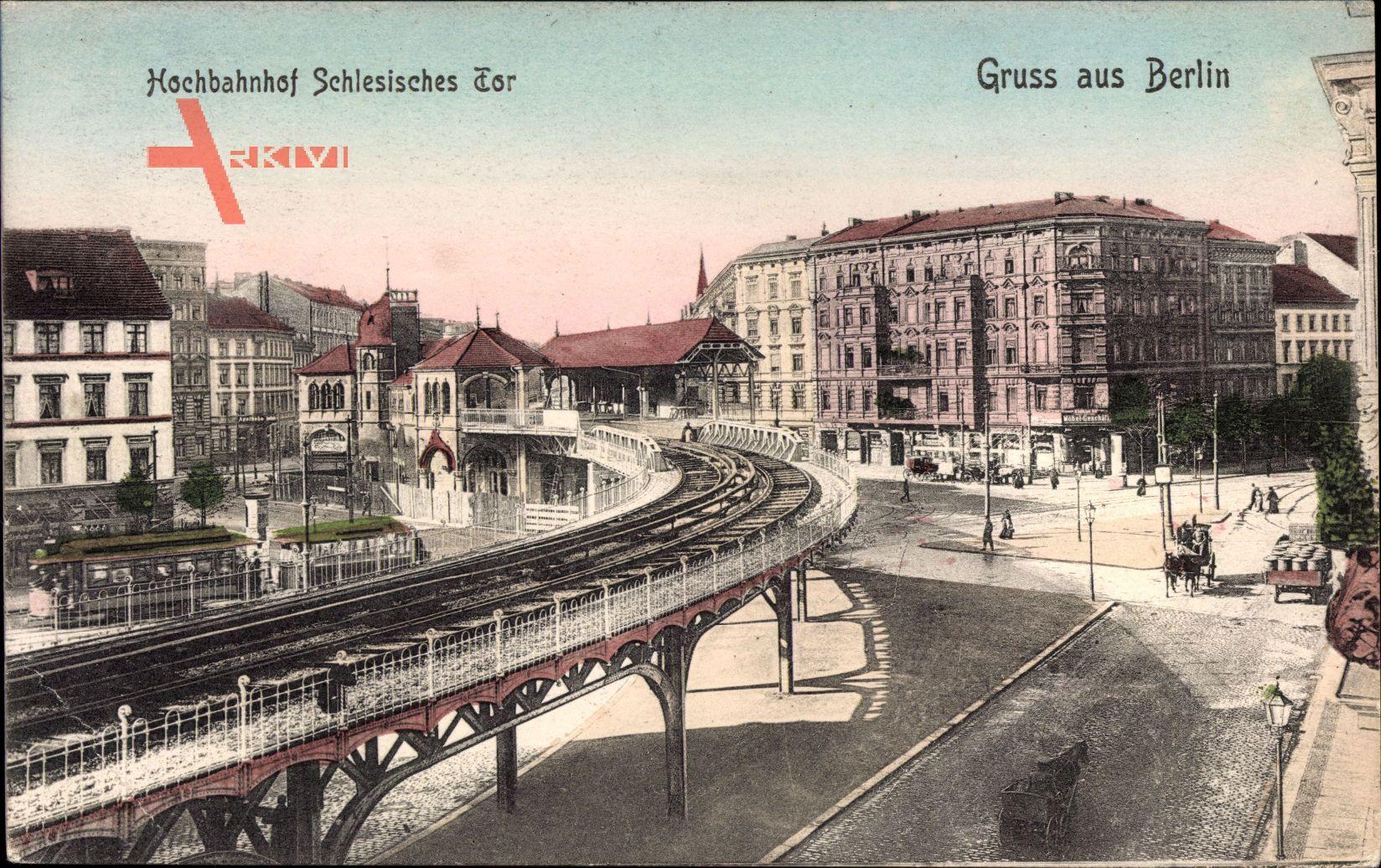 Berlin Kreuzberg, Blick auf den Hochbahnhof Schlesisches Tor