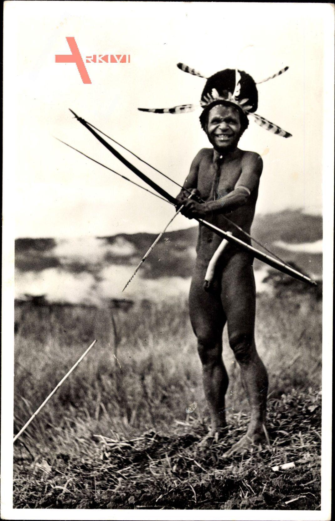 Niederländisch Neu Guinea, Opperhoofd in de Baliem, Jäger mit Pfeil und Bogen
