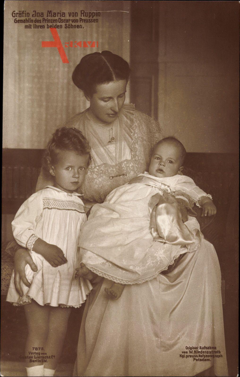 Gräfin Ina Marie von Bassewitz, Ehefrau Prinz Oskar von Preußen, Söhne