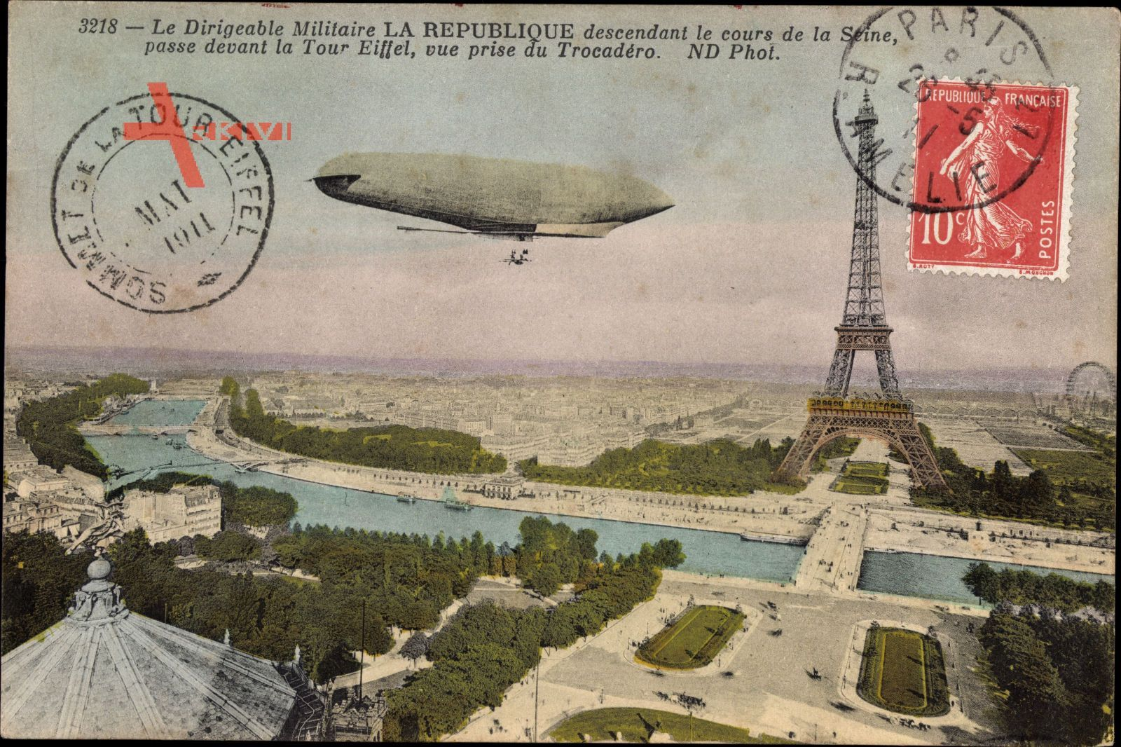 Paris, Dirigéable Militaire La Republique, Tour Eiffel, Eiffelturm, Zeppelin