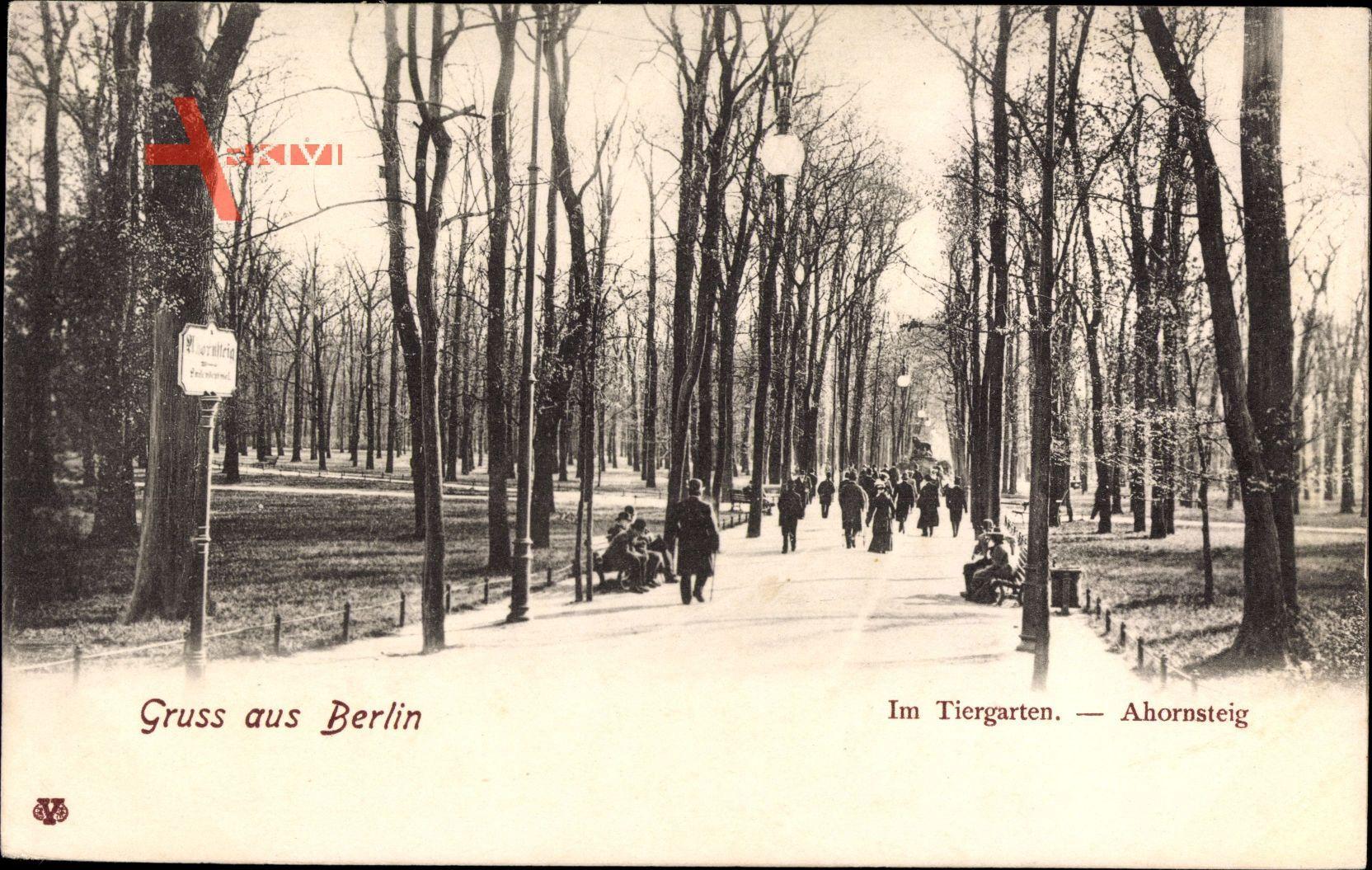 Berlin Tiergarten, Partie im Tiergarten im Winter, Ahornsteig