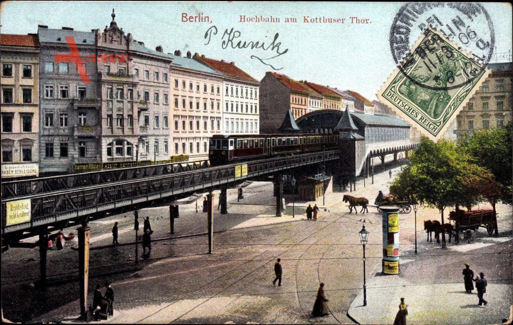 Berlin Kreuzberg, Blick auf Hochbahn am Kottbusser Tor
