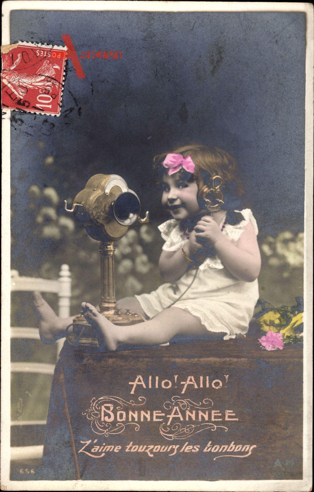 Glückwunsch Neujahr, Allo Allo, Kleines Mädchen am Telefon
