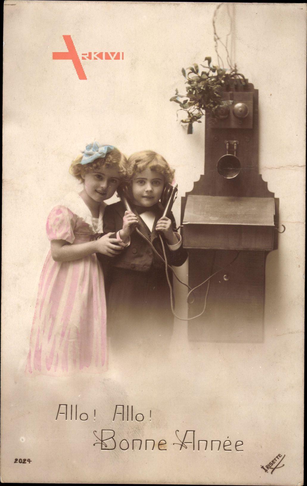 Glückwunsch Neujahr, Zwei Kinder am Telefon, Allo Allo