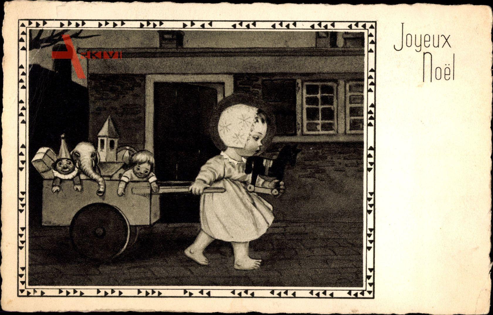 Frohe Weihnachten, Mädchen mit Puppen und Spielzeug im Karren