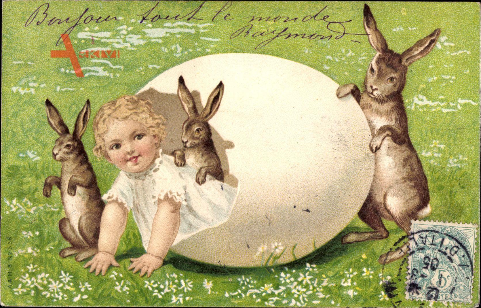Glückwunsch Ostern, Kind schlüpft aus einem Ei, Osterhase, Eierschale