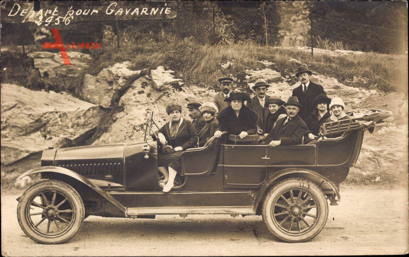Départ pour Gavarnie, Automobil, Offenes Verdeck, Gruppenfoto