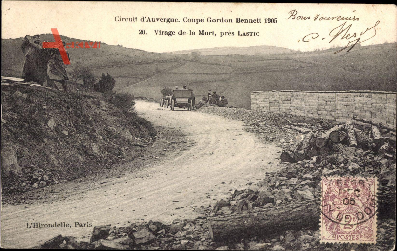 Circuit dAuvergne, Coupe Gordon Bennett 1905, Virage de la Mort, près Lastic