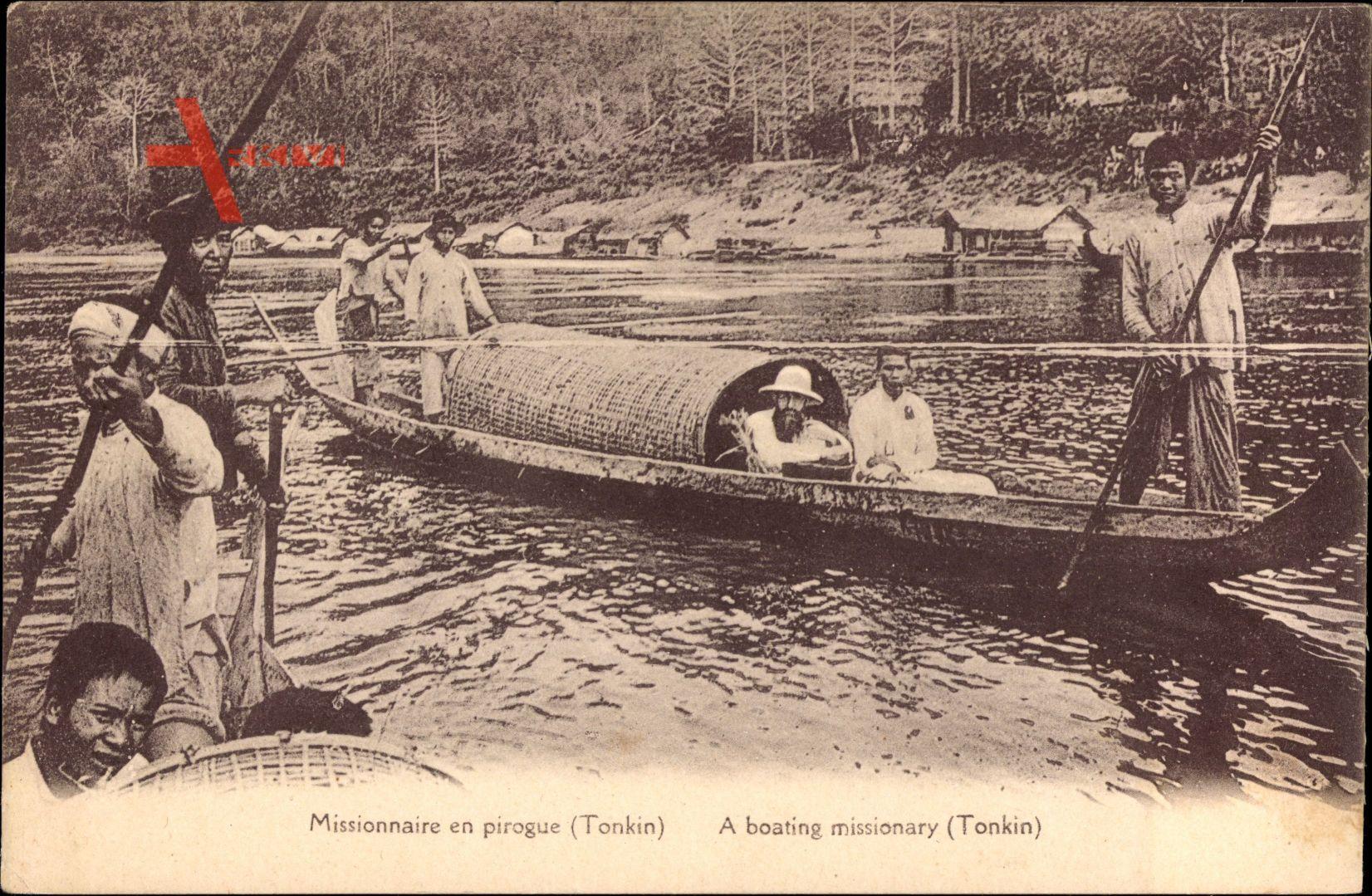 Tonkin Vietnam, Missionaire en pirogue, Missionar im Boot, Flusspartie